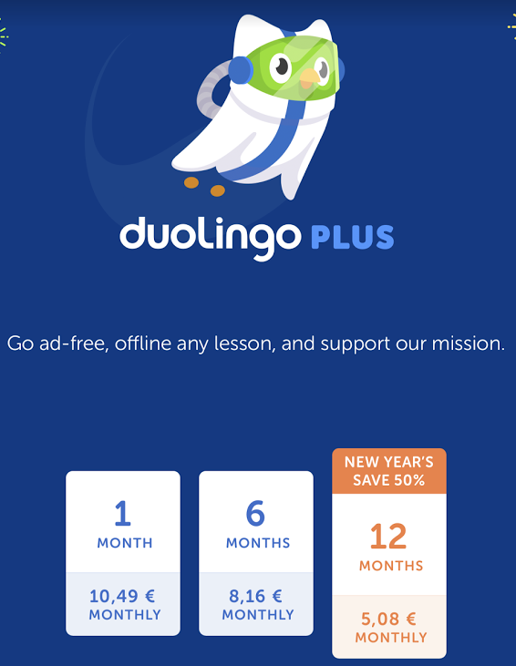 Duolingo Plus prices