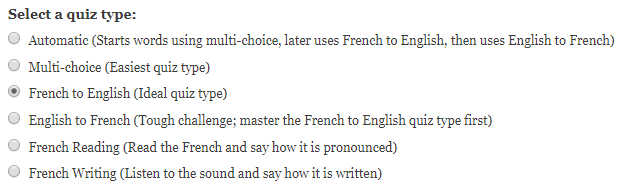French to English quiz type