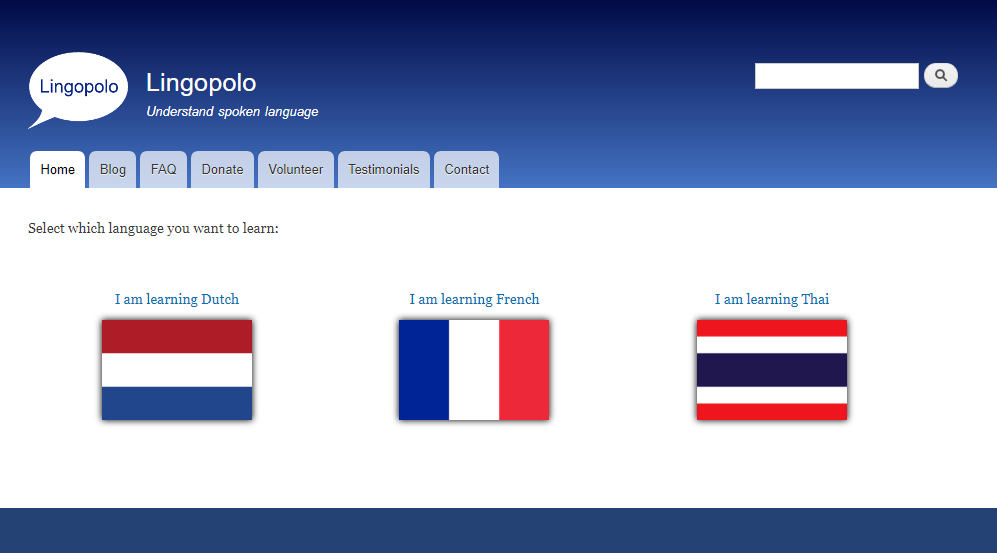 Language selection page (new design)