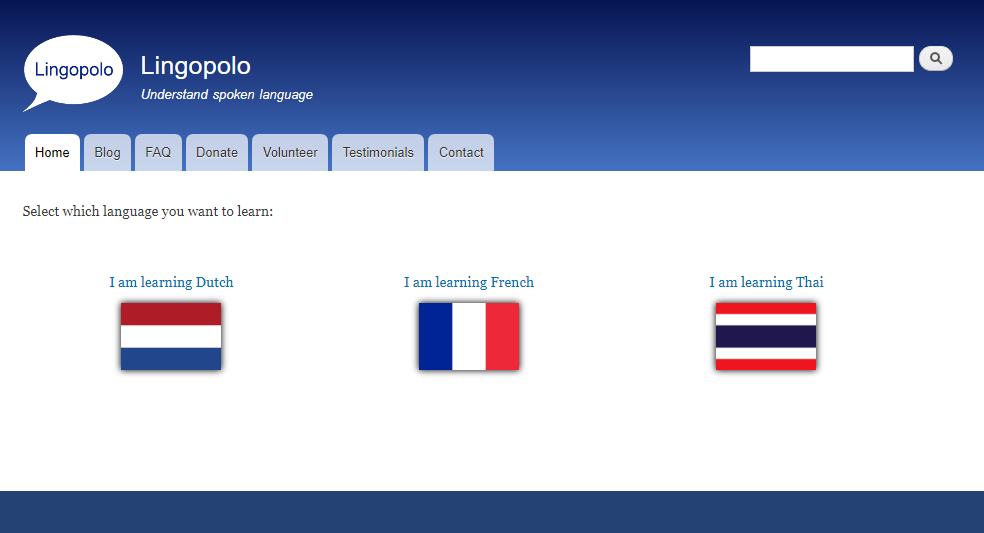 Language selection page (old design)