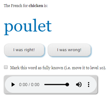 "The French for chicken is ""poulet"""