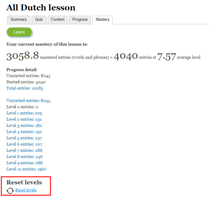 reset All Dutch lesson