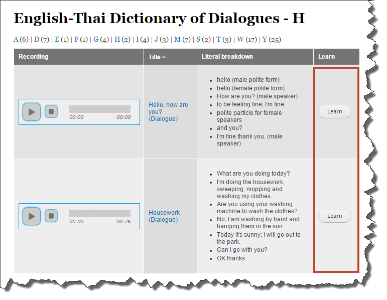 Dictionary of dialogues showing the Learn button