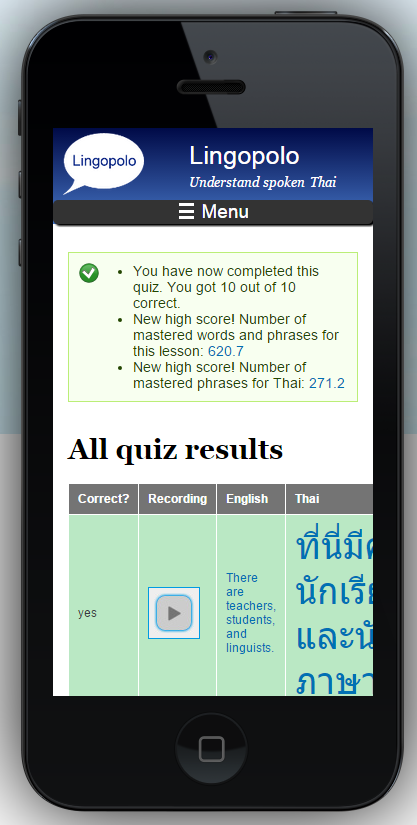 iPhone 5 quiz results