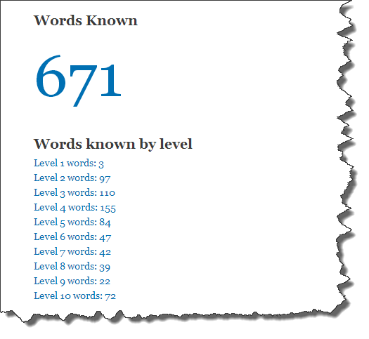 Words Known and Words known by level summary