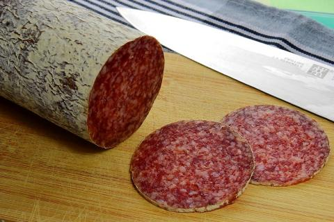 "Salami. The Thai for ""salami"" is ""ซาลามี""."